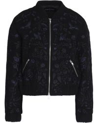 Needle & Thread - Woman Embroidered Wool-blend Bomber Jacket Black - Lyst