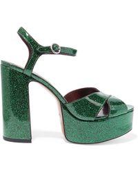 Marc Jacobs - Debbie Glittered Leather Platform Sandals - Lyst
