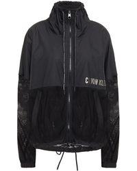 Calvin Klein Mesh-paneled Printed Shell Track Jacket - Black