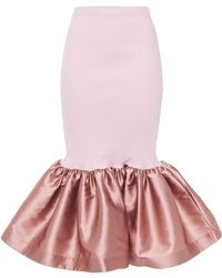 Marques'Almeida Fluted Ribbed Organic Cotton-blend Jersey And Taffeta Midi Skirt - Pink