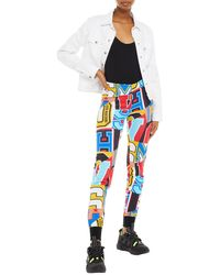 Love Moschino Printed French Cotton-terry Track Trousers - Blue