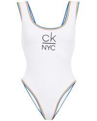 Calvin Klein Printed Swimsuit - White