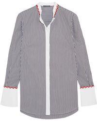 Alexander McQueen - Embroidered Striped Cotton-piqué Shirt - Lyst