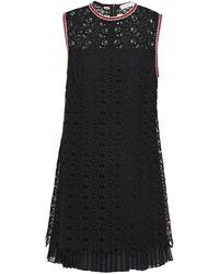 Sandro Franck Layered Macramé Lace And Pleated Chiffon Mini Dress - Black