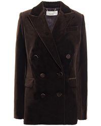 Zimmermann Double-breasted Cotton-velvet Blazer - Brown