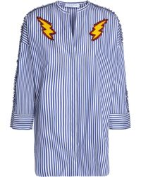 Sandro - Appliquéd Striped Cotton-poplin Shirt - Lyst