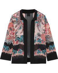 Anna Sui Crepe-trimmed Printed Silk-chiffon Jacket Black