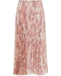 Vivetta Pleated Printed Satin-twill Midi Skirt - Pink