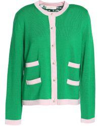 Tory Burch - Two-tone Merino Wool Cardigan Bright Green - Lyst