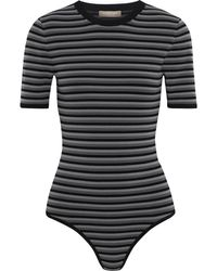 Michael Kors - Striped Stretch-knit Bodysuit Dark Gray - Lyst