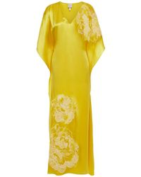 Carine Gilson Nachthemd Aus Seidensatin Mit Chantilly-spitzenbesatz - Gelb