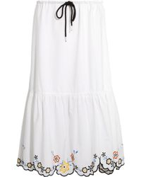 See By Chloé - Scalloped Embroidered Cotton-poplin Midi Skirt - Lyst