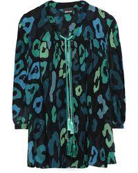 Just Cavalli Tasselled Leopard-print Chiffon Blouse Dark Green