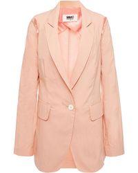 MM6 by Maison Martin Margiela Cutout Cotton-blend Poplin Blazer Antique Rose - Pink