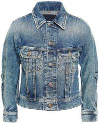 R13 Tanner Cropped Denim Jacket Mid Denim - Blue