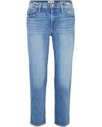 FRAME Le Nouveau Straight Cropped Distressed Mid-rise Straight-leg Jeans Light Denim - Blue