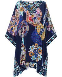 Camilla Star Gazer Crystal-embellished Silk Crepe De Chine Kaftan Indigo - Blue