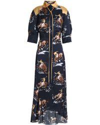 Nina Ricci - Woman Fluted Printed Satin Midi Shirtdress Navy - Lyst