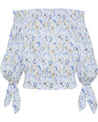 Caroline Constas - Lou Off-the-shoulder Printed Cotton-blend Top - Lyst