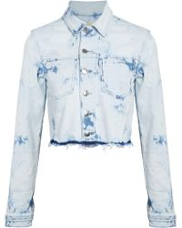 L'Agence - Zuma Cropped Bleached Denim Jacket Light Denim - Lyst