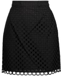 Carven - Broderie Anglaise Cotton Mini Skirt - Lyst