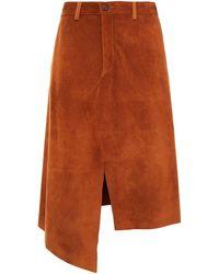Maison Margiela Asymmetric Suede Skirt - Brown