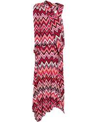 Raoul Printed Stretch-jersey Midi Dress Magenta - Red