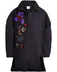 Delpozo - Embellished Brushed-wool Coat - Lyst