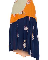 Preen Line Lilja Asymmetric Patchwork Floral-print Crepe De Chine Skirt - Orange