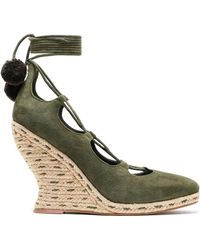 Tory Burch Pompom-embellished Lace-up Suede Wedge Espadrilles Army Green