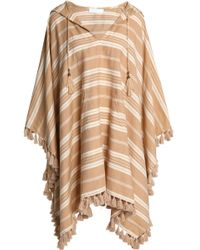 Zimmermann Tulsi Ticking Tasselled Striped Linen And Cotton-blend Hooded Coverup Camel - Natural