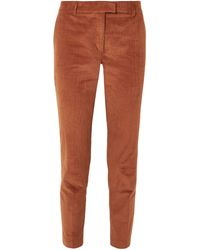 Paul & Joe Cropped Stretch-cotton Corduroy Tapered Pants Brown