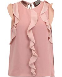 Alexis - Mathilde Ruffle-trimmed Crepe Top - Lyst
