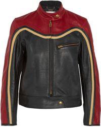 Chloé Chloé Panelled Leather Biker Jacket Red
