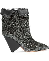 Isabel Marant - Glittered Leather Ankle Boots - Lyst