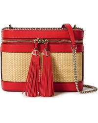 Kate Spade Tasselled Leather And Woven Straw Shoulder Bag Red