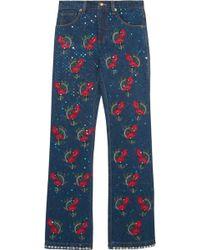 Ashish - Voyage Embellished Embroidered Mid-rise Straight-leg Jeans Dark Denim - Lyst