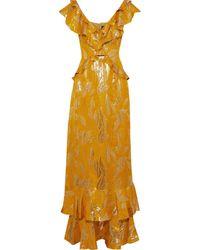 Rachel Zoe Geovana Ruffle-trimmed Lamé-jacquard Gown - Multicolour