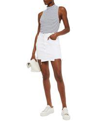 3x1 Distressed Denim Mini Skirt - White