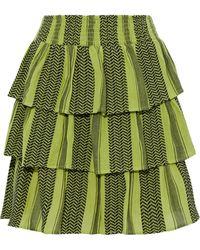 Cecilie Copenhagen Cecilie Copenhagen Becky Tiered Cotton-jacquard Mini Skirt - Green