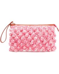 M Missoni - Leather-timmed Crocheted Clutch - Lyst