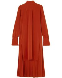 Chloé Chloé Asymmetric Pleated Silk Crepe De Chine Dress Red