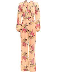 byTiMo Pleated Floral-print Crepe Jumpsuit Saffron - Multicolour