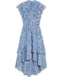 Walter Baker Jayda Pussy-bow Ruffled Floral-print Chiffon Midi Dress Light Blue