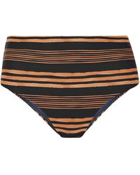 ViX Isabela Striped High-rise Bikini Briefs - Blue