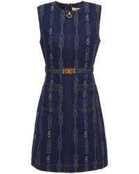 Tory Burch Minikleid Aus Denim Mit Stickereien Und Gürtel Größe 12 - Blue