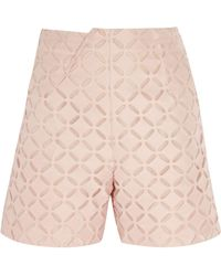 Roland Mouret - Kelston Broderie Anglaise Cotton And Silk-blend Shorts - Lyst