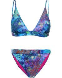 Matthew Williamson Printed Triangle Bikini Multicolour - Blue
