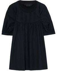Simone Rocha Pintucked Cotton-poplin And Jersey Top - Black