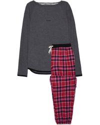 DKNY Printed Fleece And Stretch Modal-jersey Pyjama Set Dark Grey - Gray